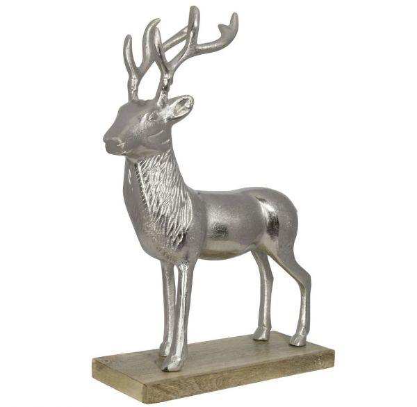 Aluminium Hirsch auf Holzsockel Größe ca.46cm