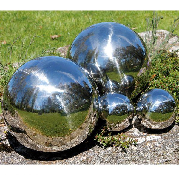 Garten Dekokugel 4er-Set Edelstahl glänzend
