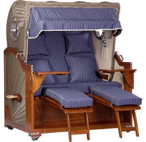 XL Mahagoni Luxus Strandkorb blau-weiß gestreift inkl. Schutzhülle