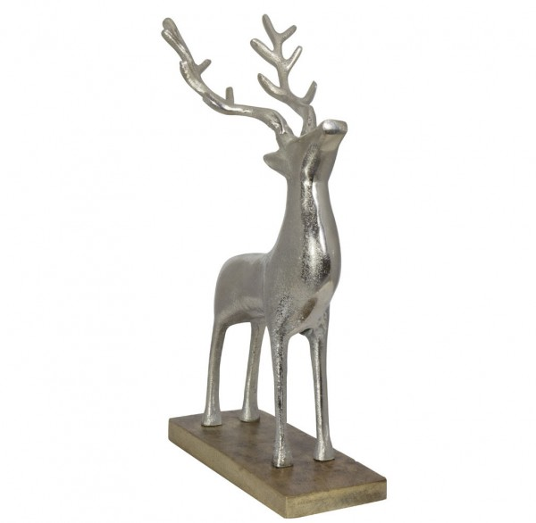 Aluminium Hirsch auf Holzsockel Größe ca.41cm