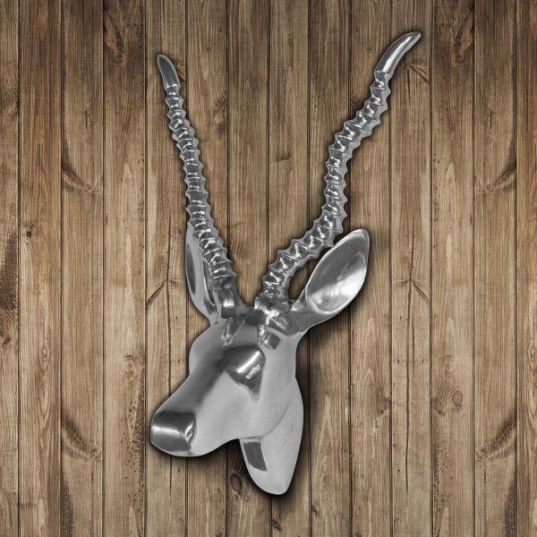 Gazelle Deko-Geweih aus poliertem Aluminium 31x28cm